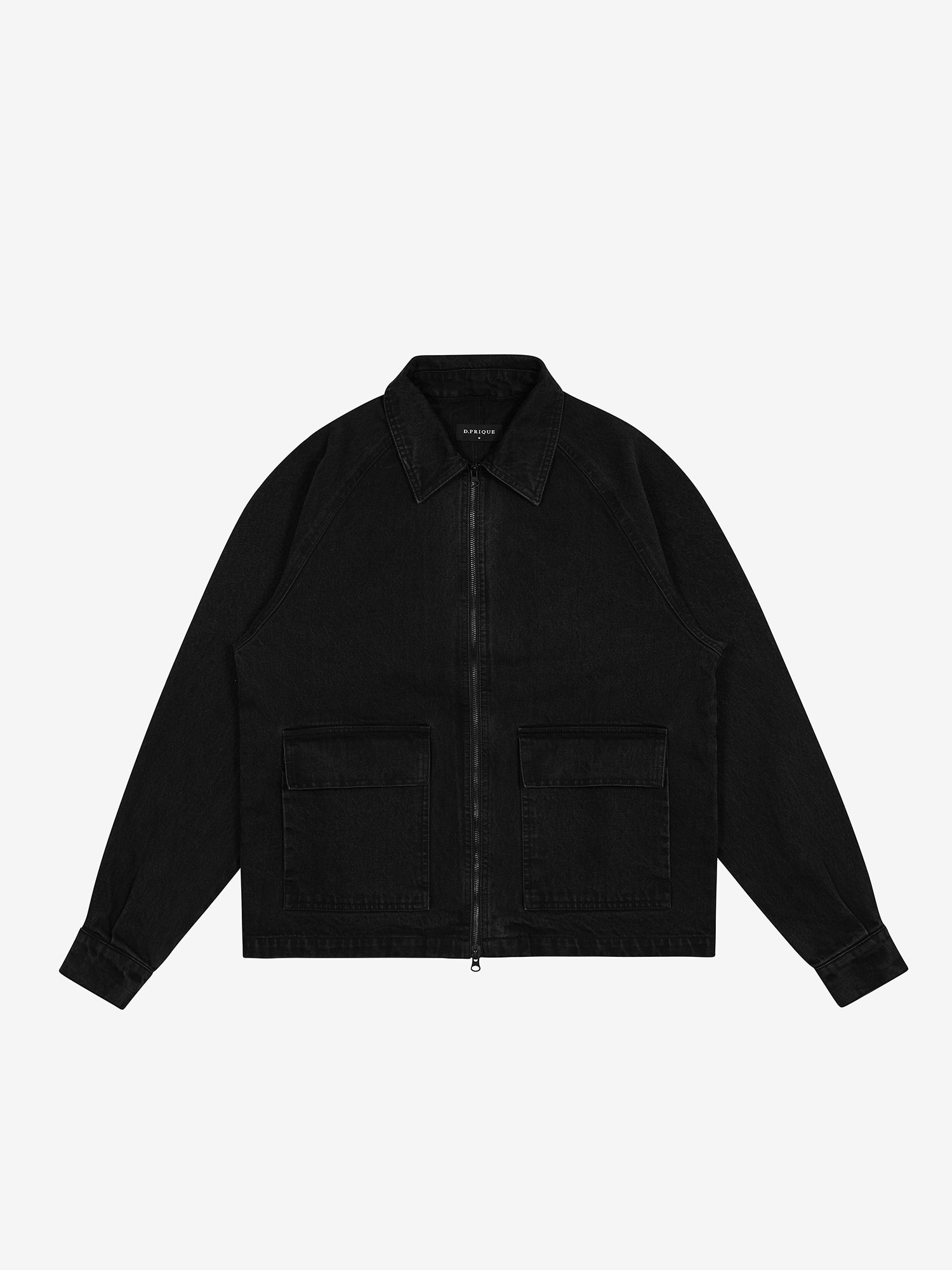 DENIM ZIPPER JACKET - BLACK