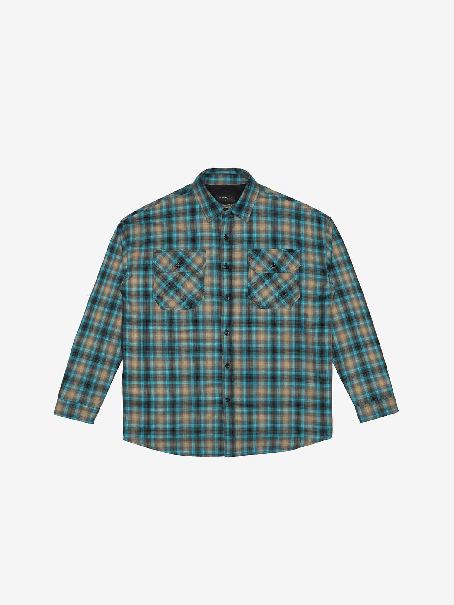 OVERSIZED CHECK SHIRT - Blue/Beige