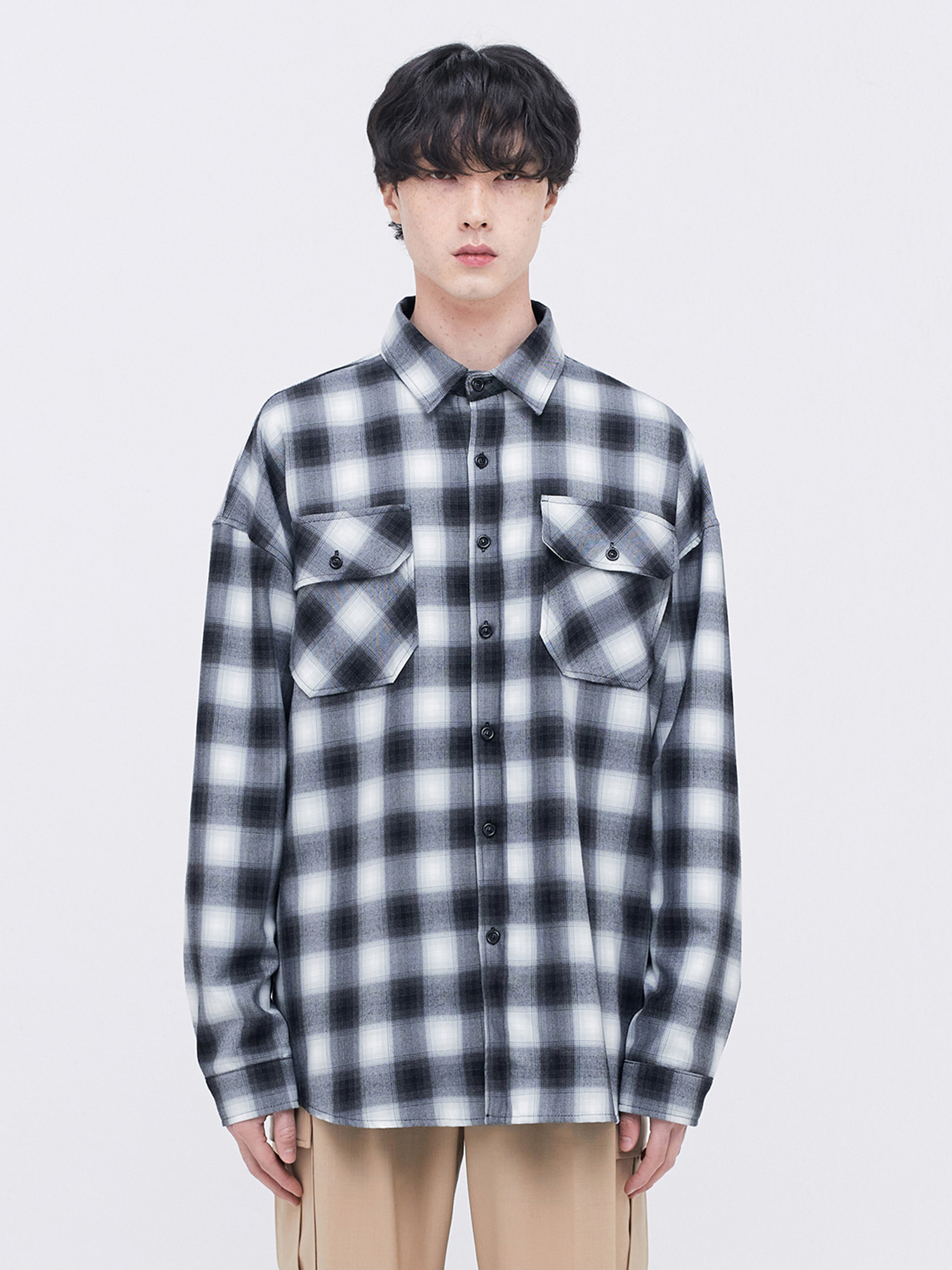 OVERSIZED CHECK SHIRT - Black/White